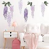 decalmile Pegatinas de Pared Flores de Glicina Púrpura Vinilos Decorativos Plantas Colgantes Adhesivos Pared Habitación Niña Dormitorio Salón Oficina