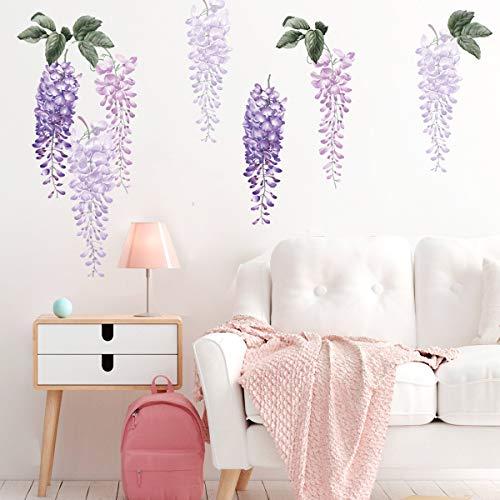 decalmile Adesivi Murali Fiore di Glicine Viola Adesivi da Parete Floreale Impianti Decorazione Murale Camere Ragazze Camera da Letto Soggiorno Ufficio