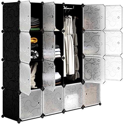 LANGRIA Armario estantería de 16 Cubos DIY Portátil, 1Barra para Colgar Ropa,...