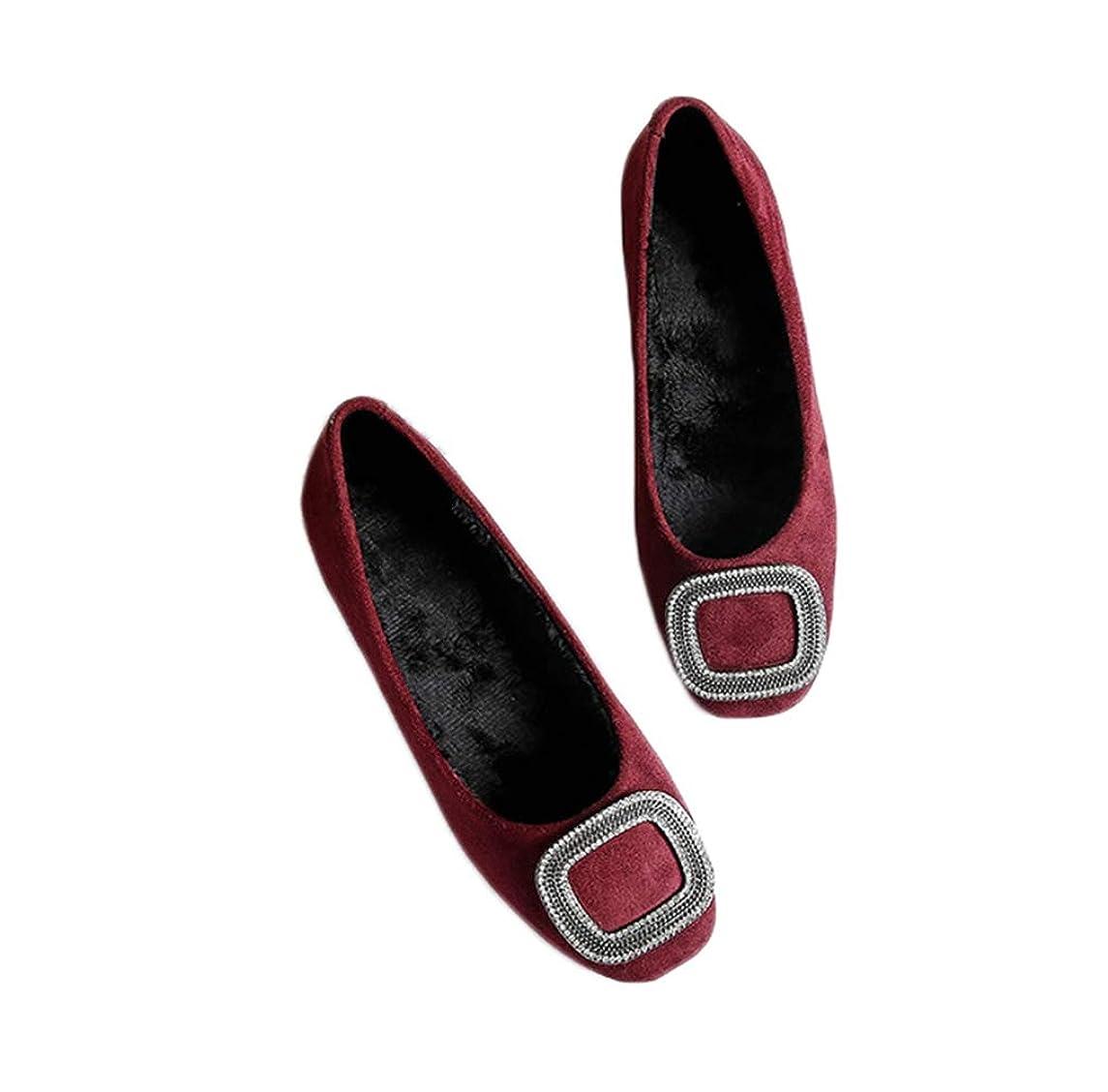 同時独占ソロパンプス 痛くない ローヒール ぺたんこ 大きいサイズ 22.5cm 歩きやすい 旅行 疲れない ヒール 小さいサイズ 黒 ワインレッド裏起毛 ブラック 走れる 立ち仕事 おしゃれ フラットシューズ レディース靴 スエード バックル スクエアトゥ 痛くない