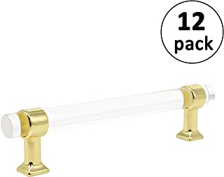 Acrylic Cabinet Pulls Clear Glass Look Gold Drawer Knob Pull Dresser Handles 128mm 5inch Hole Spacing Modern Kitchen Hardware Handle 161mm 6 3/10inch Overall Length Pack of 12