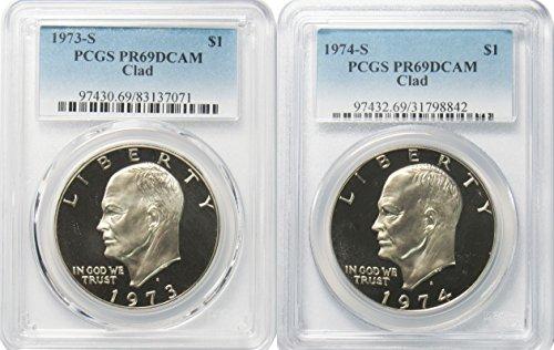 1973 & 1974 S Clad Eisenhower Ike Dollar PCGS PR69DCAM 2 Coin Set