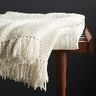Styles Ecru Fringe Throw Blanket