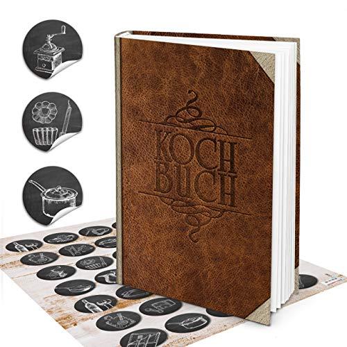 Logbuch-Verlag Set XXL Rezeptbuch zum Selberschreiben DIN A4 in Leder-Optik braun Nostalgie Vintage + 35 Aufkleber Tafelkreide-Look Kochbuch leer für eigene Rezepte Geschenk DIY