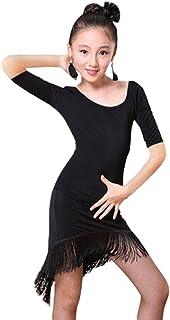 Abiti da Danza per Bambine e Ragazze Abito Ballo Bambini Vestito Latino con Frange Tango Sala Vestito Danza Moderna Dancewear Costumi