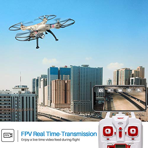 Syma-FPV-RC-Drone-with-720P-Camera-FPV-WiFi-X8HW-Quadcopter-24GHz-6-Axis-Gyro-Remote-Control-Drone-Headless-Mode-Altitude-Hold-2-Speed-Mode-Gift-for-Kids-Beginners