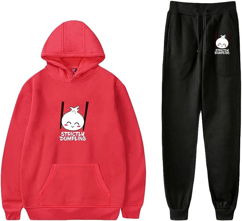 Unizka Strictly Dumpling 2 Pieces Sets Hoodie & Trousers Unisex Kawaii Hip Hop Influencer Suit (Red,Medium)