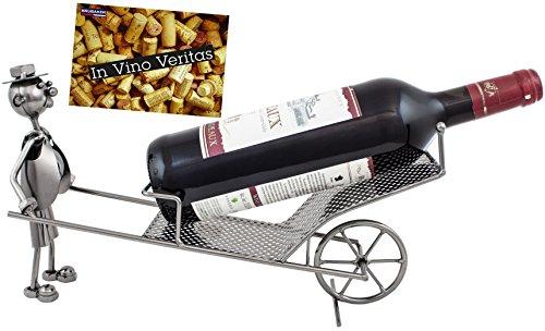 BRUBAKER Weinflaschenhalter Schubkarre Flaschenständer Deko-Objekt Metall mit Grußkarte für Weingeschenk