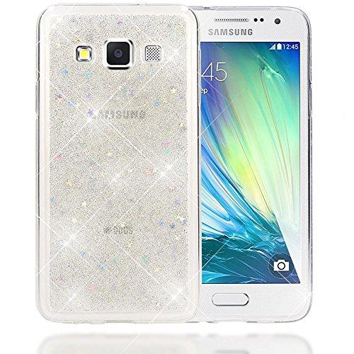 NALIA Custodia Protezione compatibile con Samsung Galaxy A3 2015, Glitter Silicone-Case Sottile Cover Protettiva Cellulare, Ultra-Slim Copertura Rigida Telefono Bumper Sottile