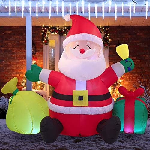 Joiedomi Christmas Inflatable Decoration 7 FT Santa Claus with Gift Bag Lighted Inflatable with Build-in LEDs Blow Up Inflatables for Xmas Party Indoor, Outdoor, Yard, Garden, Lawn Winter Decor.