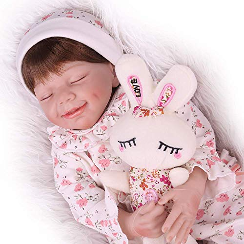 CHAREX Realistic Reborn Baby Dolls Lifelike Dolls for Girls 22 Inch Weighted Newborn Baby Dolls with Rabbit Toy for Kids Age 3