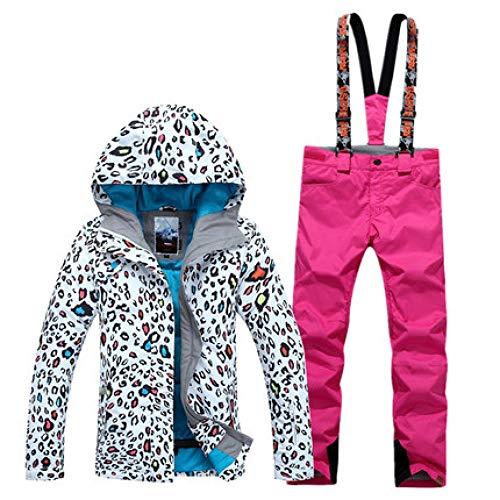 KTUCN Damen Leopardenmuster Skianzug Winter Verdickung Warm Atmungsaktiv Wasserdicht Winddicht Skijacke Skihose, 9, M