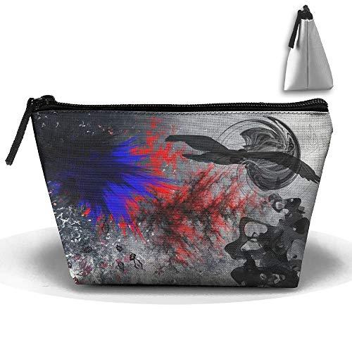 wenxiupin Resumen Hojas Vector pájaro Bolsa de Almacenamiento Trapezoidal portátil Cool Tiger Head ilustración Arte Bolsas de cosméticos Viaje tocador Cremallera