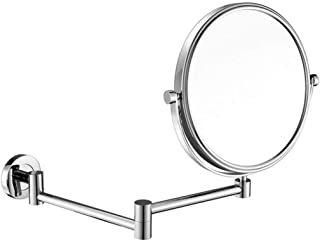 Makeup Vanity Mirror, 3X Magnification Beauty Mirror Two-Sided Wall Mounted Bathroom Mirror 360° Swivel Extendable Cosmetic Mirror,Black_8inch, Bathroom