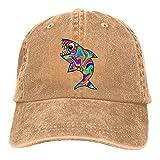 gymini Gorra de béisbol de tiburón colorida lavada ajustable de algodón unisex para los deportes del papá del camionero