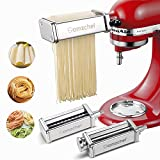 [Fit For KitchenAid Stand Mixers Perfectly]AMZCHEF 3-piece pasta maker & cutter attachment set fits for KitchenAid Stand Mixers perfectly.This pasta maker 3 in 1 set attachment included pasta sheet roller, spaghetti cutter, fettuccine cutter,It not o...