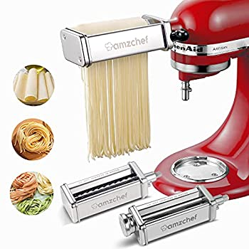 AMZCHEF Pasta Maker Attachments Set for KitchenAid Stand Mixers 3 Pcs Stainless Steel Pasta Maker Attachment for Kitchenaid Includes Pasta Roller and Spaghetti Cutter Fettuccine Cutter