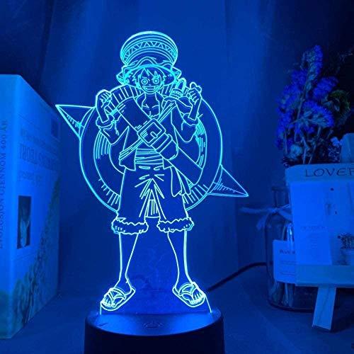 Lámpara de ilusión 3D Luz de Noche LED Mono de una Pieza D. Luffy Niños Cambio de Color con Pilas para decoración del hogar Lámpara de Escritorio Regalos para niños