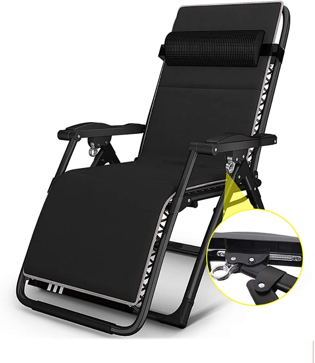 Multi Position Sun Lounger, Lightweight Folding Chair with A Headrest, Perfect for Garden Camping Travel Fishing Hiking Picnic- Black bluee