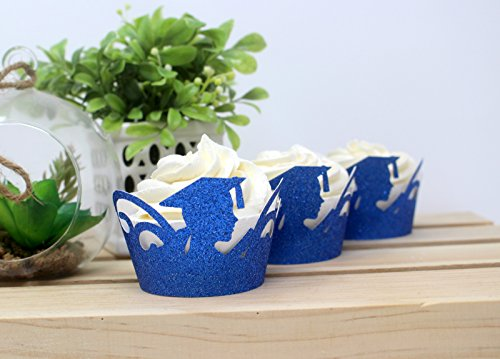 All About Details Female Graduate Cupcake Wrappers,12pcs (Glitter Blue)