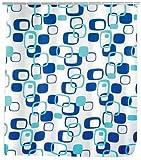 WENKO 19180100 Duschvorhang Geometrix - hochwertiges Textilgewebe, 240 x 180 cm