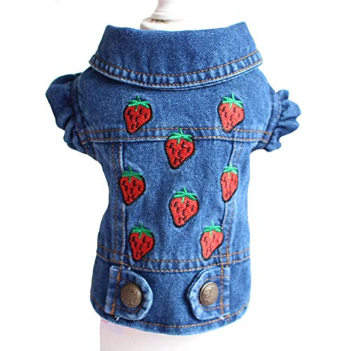 Tengzhi Stylish Cowboy Dog Vest Dog Clothes Denim Jacket Clothes for Dogs Dachshund Teddy French Bulldog XS-XXL (Strawberry, XXL)