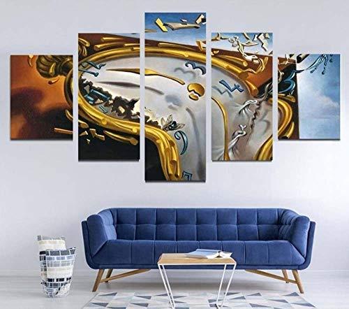 GSDFSD 5 Piezas Modernos Mural Reloj Abstracto Cuadro en Lienzo,impresión artística,único,Pasillo Decor Pared Cuadro Carteles Innovador
