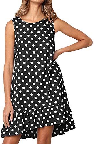 Flounce Sleeveless Dress Women Casual Wave Point Print Pocket Mini Dress