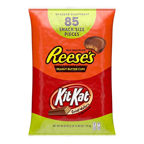 REESE'S and KIT KAT Bulk Halloween Candy Variety Mix, Bulk Chocolate Candy, Individually Wrapped, 85 pieces