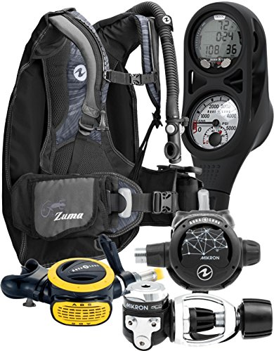 Aqua Lung Travel 9 LBS Scuba Gear Package Zuma BCD Zoop Dive Computer Micron
