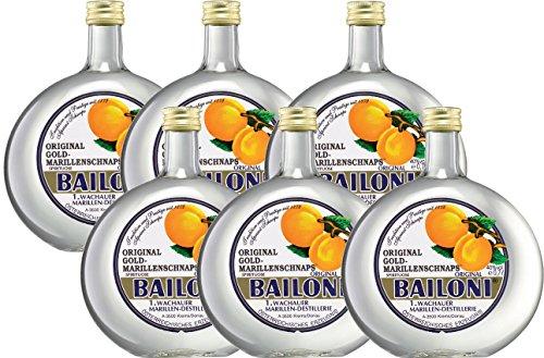 6 Flaschen Bailoni Marillenschnaps a 0,7L Schnaps Marille 40% Vol.