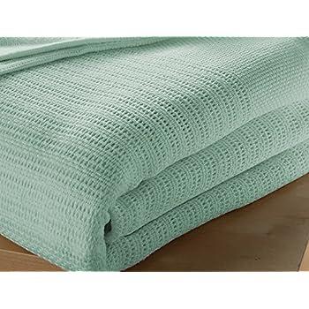 Musbury - Manta para cama individual (100% algodón, 180 x 230 cm), color verde: Amazon.es: Hogar