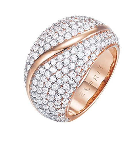 ESPRIT Glamour Damen-Ring ES-ATROPIA ROSE teilvergoldet Zirkonia transparent Gr. 57 (18.1) - ESRG02844C180