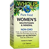 Whole Earth & Sea from Natural Factors, Women's Multivitamin & Mineral, Whole Food Supplement, Vegan and Gluten Free, 120 Tablets (60 Servings)
