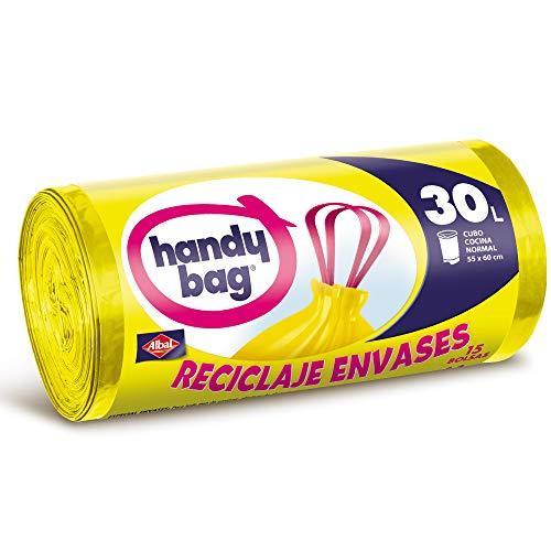 Handy Bag 30 litros Basura 30L, Reciclaje Envases, Extra Resistentes, 15 Bolsas, Amarillo