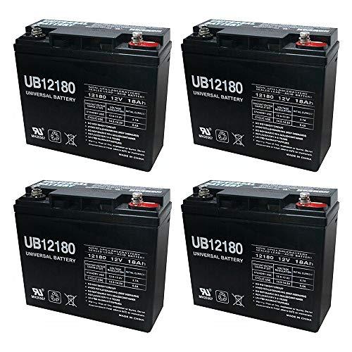 Universal Power Group UB12180 12V 18AH Internal Thread Battery for Motorino XPv Scooter - 4 Pack