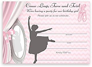ballerina 1st birthday invitations