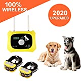 Wireless Dog Fence Pet Containment System, Safe Effective Dual Antenna Design, Adjustable Control Range 1000 Feet & Display Distance, Rechargeable Waterproof Collar (Wireless Dog Fence-2 Collars)