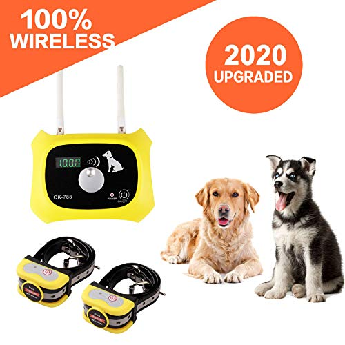 Wireless Dog Fence Containment System, Dual Antenna Stronger More Stable Signal, Control Distance 10 To 1000 Feet Adjustment 100 Levels, Independently Developed New Technology, Applied for US Patent