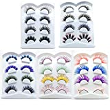 Ezolistic Fake Colored Eyelashes (Set of 4) - Natural 3D Looking Reusable Eye Lashes Extension for Halloween - Cruelty-Free (#4-red, blue, purple with three green dot style and pink with 3 gold dot)