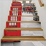 Simulation Telefonzelle Treppe Aufkleber Schritt Dekoration Wandaufkleber Home Landschaftsbau dekorative Aufkleber 136 * 97cm