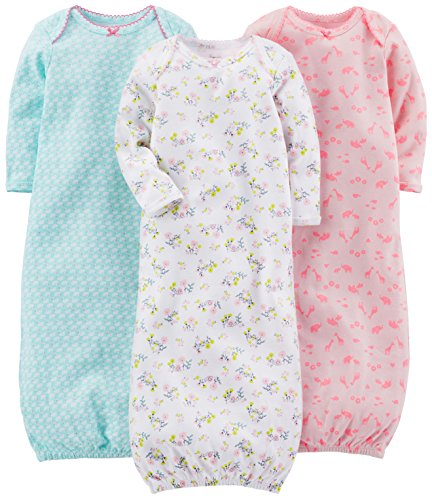 Simple Joys by Carter's 3-pack Cotton Sleeper Gown Nightgown Blue, Pink, White Floral Newborn Lot de, 1