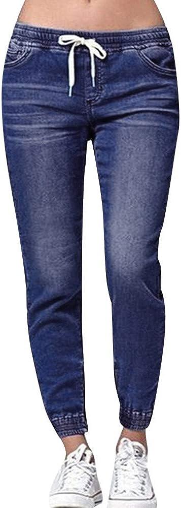 MONISE Womens Skinny Stretch Jeans Denim Capri Pants Pull On Elastic Waist Drawstring Mid Rise Boyfriend Jeans Plus Size (Dark Blue-02, 5X-Large)