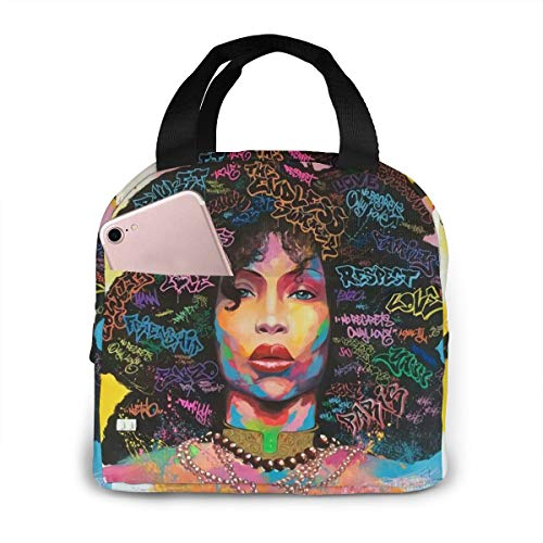 Matthzhang Lunch Bag Black Girl African American Girl Insulated Lunch Tote Boxes Cooler Bag For Adults Men Women Kids Boys Nurses Teens