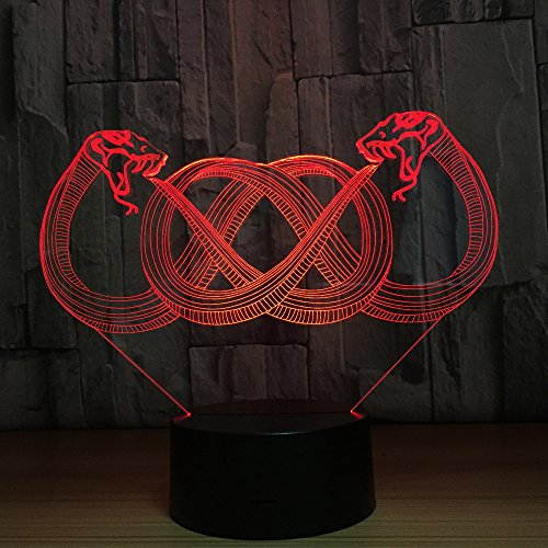 Two Snakes 3D Lamp 7 Color Led Night Lamps For Kids Touch Led Usb Table Baby Sleeping Nightlight