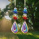 STAY GENT Sun Catcher Regalo Atrapa el Sol con Cristales de Feng Shui para Ventana con Cuentas de Chakra del arco Iris y Cristal prisma de Gota