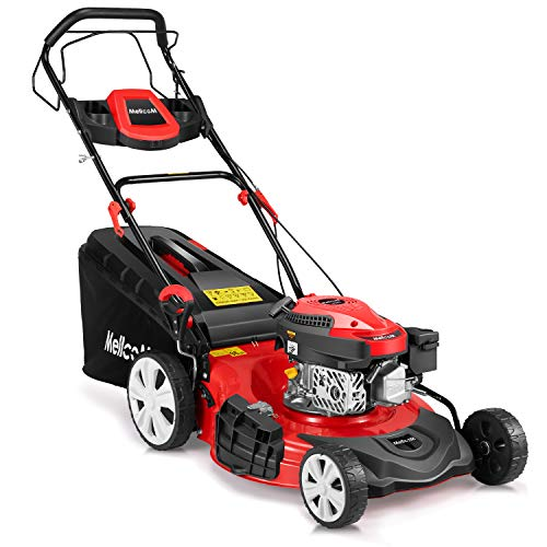 MELLCOM 21 Inch Gas Lawn Mower 4-Cycle Trimming Mower 4-in-1 Rear Wheel 173cc OHV Drive Trimmer with 16 Gal Grass Box,8 Adjustable Mower Heights, Adjustable & Foldable Handlebars