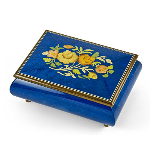Old World 18 Note Italian Blue Floral Music Jewelry Box - Over 400 Song Choices - Winnie The Pooh