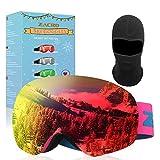 Zacro Maschera da Sci, Occhiali da Sci Anti Fog UV 400 Protezione Occhiali Ski Snowboard Antivento OTG a Doppia Lente per Sci, Snowboard, Motoslitta, Antiappannamento (Rosso)