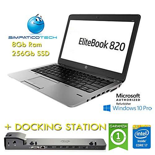 Notebook + Docking Station - HP EliteBook 820 G1 Core i7-4600U 8Gb 256Gb SSD 12.5  HD AG LED Windows 10 Pro Licenza Simp MAR Microsoft Authorized Refurbisher (Ricondizionato)(CON Docking Station)